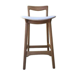 Scandic Oak Frame Kitchen Stool White