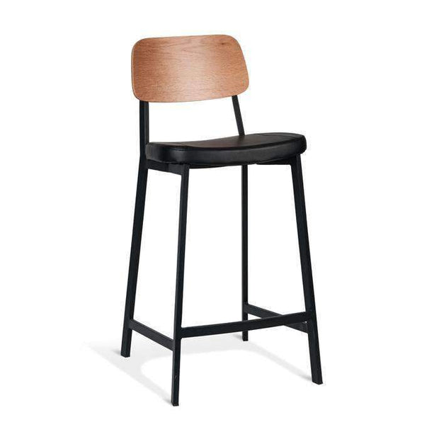 Table & Bar Stools Trek Stool 650MM - Natural Oak Back / Black PU With Black Frame