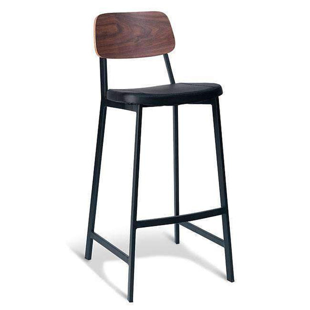 Table & Bar Stools Trek Stool 750MM - Walnut Back / Black PU With Black Frame