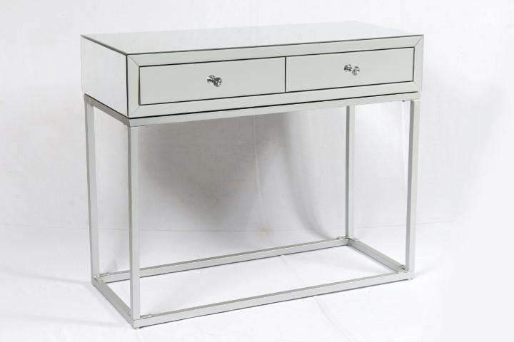Mayfair Two Drawer Mirrored Console Table Silver
