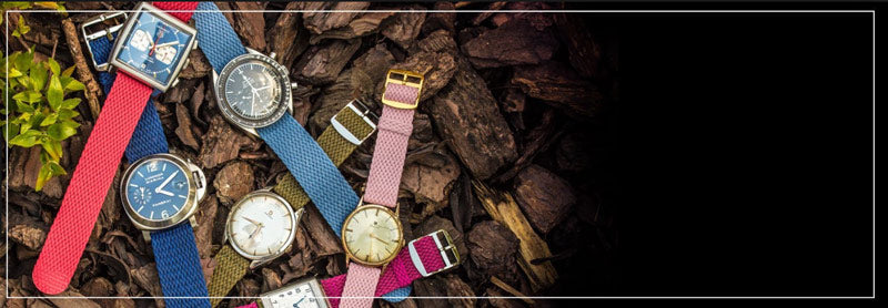 Perlon braided fabric watch bands and watch straps