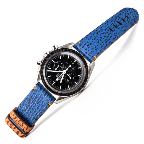 Omega Speedmaster with blue shark water resistant strap