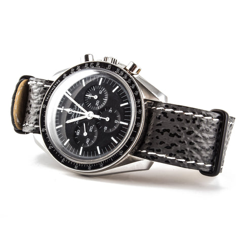 Omega Speedmaster with grey shark water resistant Nato strap