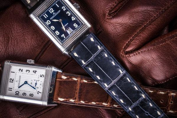 bracelet montre jaeger lecoutre reverso alligator watch band leather strap crocodile