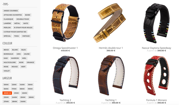 e shop watch bands leather straps boutique en ligne online bracelets montres cuir