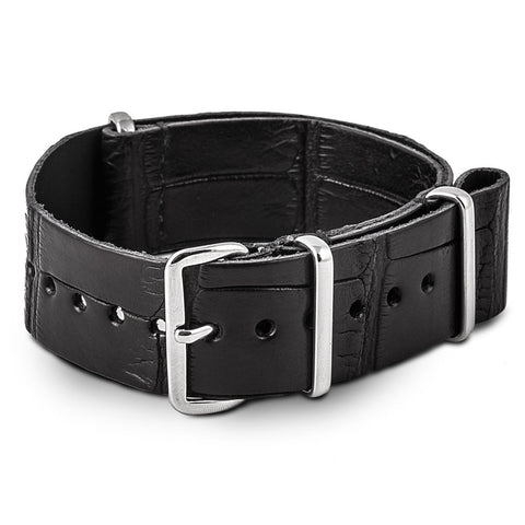 Bracelet montre Nato cuir - Alligator noir - watch band leather strap - ABP Concept -