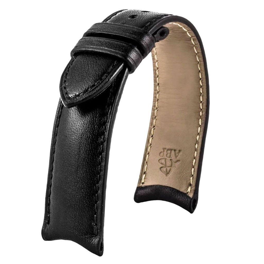Anses courbes - Bracelet pour montre cuir - Veau (noir, marron, gris, bleu) - watch band leather strap - ABP Concept -