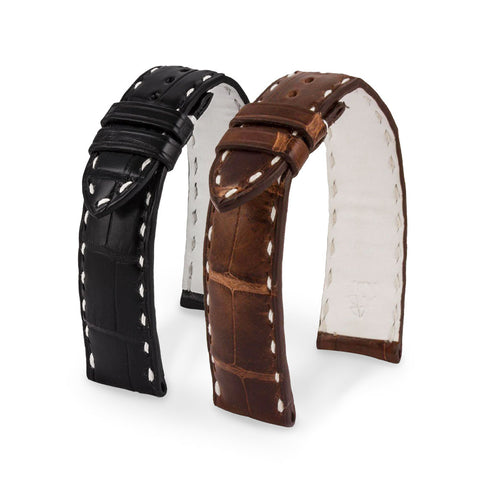 Bracelet montre cuir - Paddock - Alligator (noir, marron) - watch band leather strap - ABP Concept -
