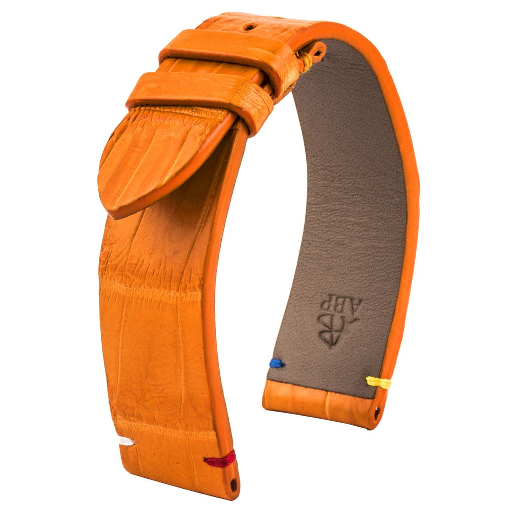 Bracelet de montre cuir - Religions - Alligator blanc / noir / orange - watch band leather strap - ABP Concept -