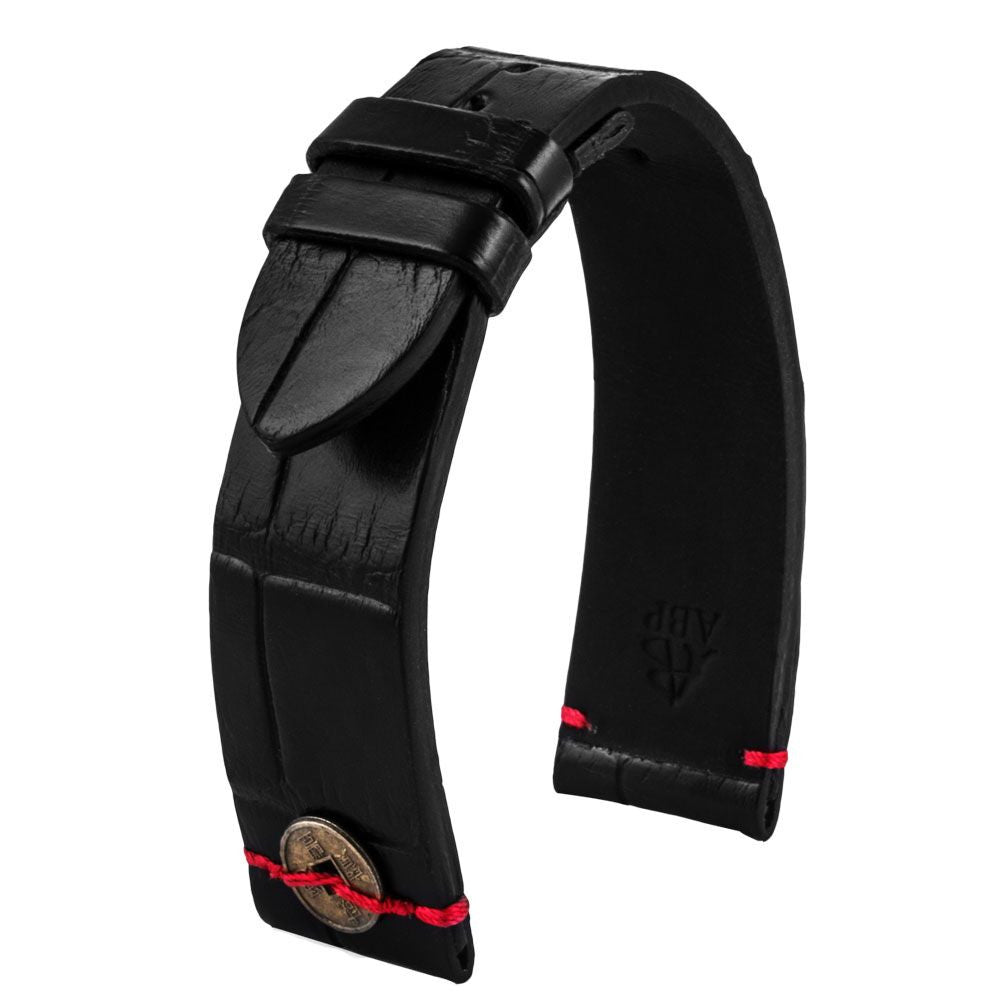 Bracelet montre cuir - Chinese Lucky Coin - Alligator noir - watch band leather strap - ABP Concept -