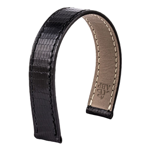 Bracelet-montre cuir - Poiray - Lézard noir - watch band leather strap - ABP Concept -