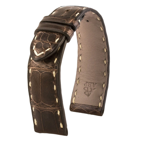 Omega Constellation - Leather watch band - Chocolate brown special tanning waxed alligator
