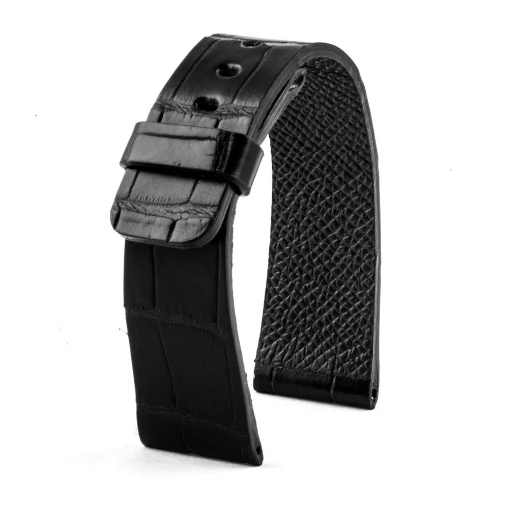 Apple Watch - Bracelet montre cuir - Alligator (noir, gris, bleu, vert, marron, rouge, orange...) - watch band leather strap - ABP Concept -