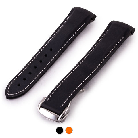 Omega Speedmaster / Seamaster - Bracelet montre caoutchouc - Rubber cousu (noir,orange) - watch band leather strap - ABP Concept -