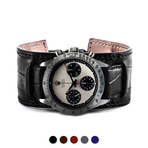 Bracelet bund vintage Paul Newman Daytona - Bracelet-montre cuir - Alligator (noir, marron, gris, bleu) - watch band leather strap - ABP Concept -