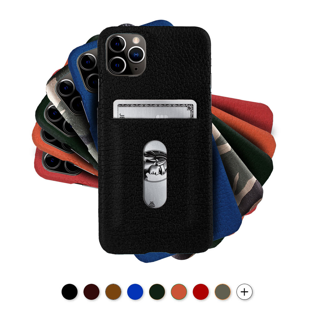 "Coque cuir / étui carte bleue ""Card Case"" pour iPhone 12 et 11 ( Pro / Max / Mini ) - Buffle , Noir , Marron , Bleu , Rouge , Orange..."
