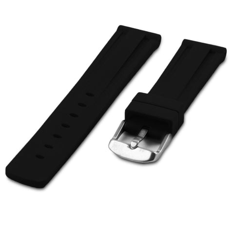 Bracelet montre caoutchouc - Rubber noir - watch band leather strap - ABP Concept -