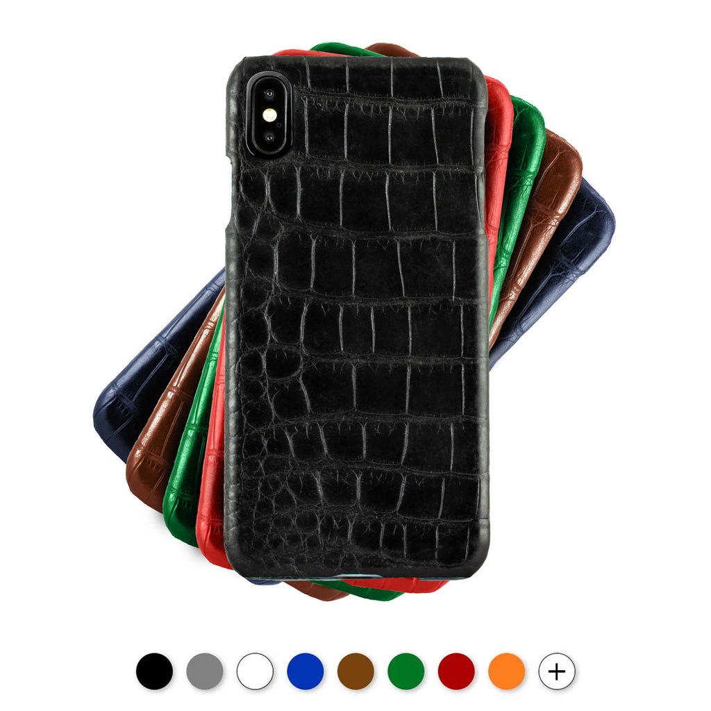 Coque cuir pour iPhone - Xs / Xs Max / Xr - Alligator - watch band leather strap - ABP Concept -