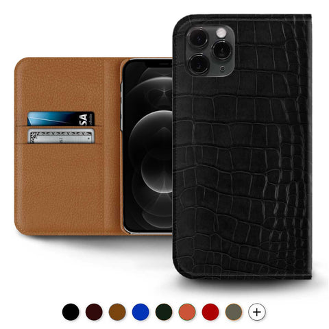 Folio cuir pour Iphone 12 et 11 ( Pro / Max / Mini ) - Alligator