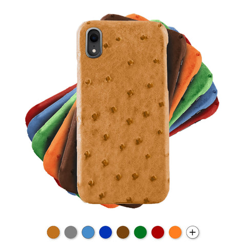 Coque cuir pour iPhone - Xs / Xs Max / Xr - Autruche , Marron , Orange , Bleu , Rouge , Gris...