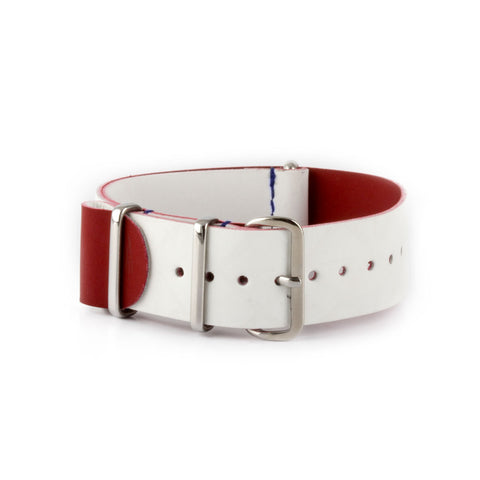 République - Bracelet NATO veau rubber - Blanc - watch band leather strap - ABP Concept -