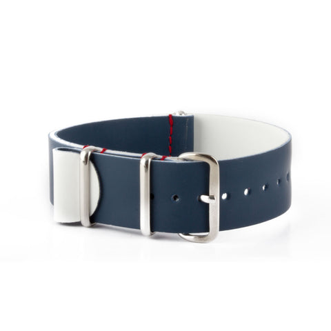 République - Bracelet NATO veau rubber - Bleu - watch band leather strap - ABP Concept -
