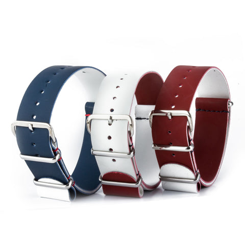République pack - Bracelets NATO x3  veau rubber - Bleu Blanc Rouge - watch band leather strap - ABP Concept -