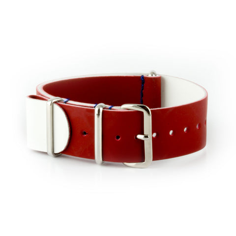 République - Bracelet NATO veau rubber - Rouge - watch band leather strap - ABP Concept -