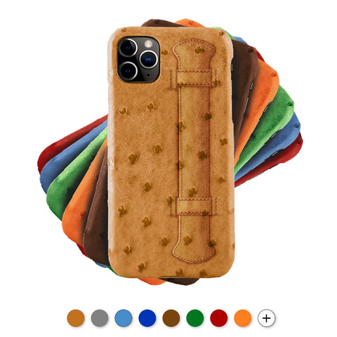 "Coque cuir "" Strap case ""pour iPhone - 11 / 11 Pro / 11 Pro Max - Autruche , Marron , Orange , Bleu , Rouge , Gris..."