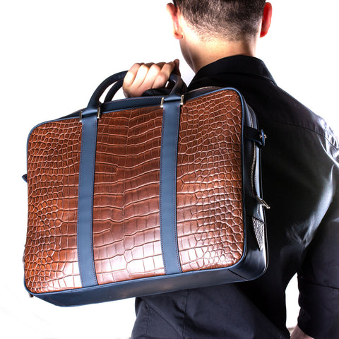 Malette business cuir - Alligator marron / Veau bleu