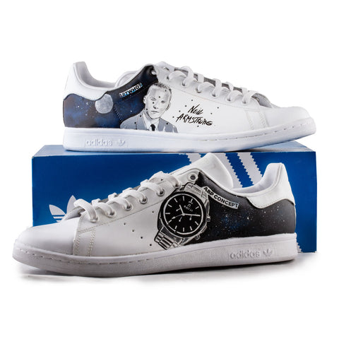 Sneakers Stan Smith Adidas customisées - Neil Armstrong