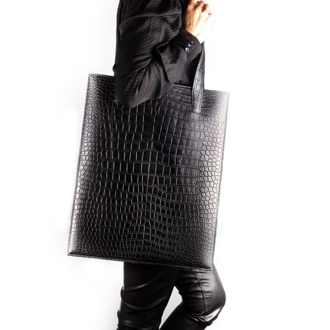 Tote bag cuir - Alligator noir - Sac unisexe