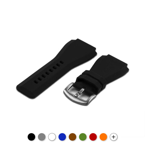 Bell & Ross - Bracelet-montre caoutchouc - Rubber (Noir, marron, gris, bleu, rouge, blanc, orange, kaki, beige) - watch band leather strap - ABP Concept -