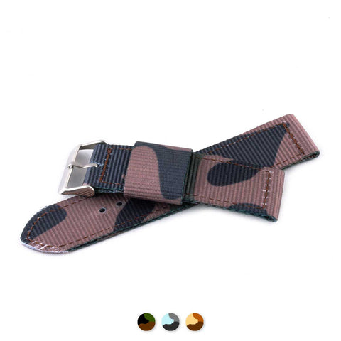 Bracelet de montre 2 brins - Nylon / tissu Camo (marron, marron/vert, gris) - watch band leather strap - ABP Concept -