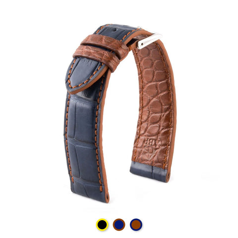 "Bracelet pour montre cuir ""Artisan"" - Alligator (noir / jaune, bleu / marron, marron / bleu) - watch band leather strap - ABP Concept -"