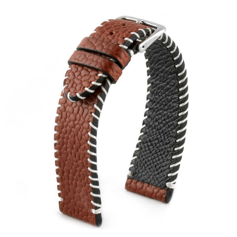 "Bracelet montre cuir ""Football américain"" - Veau marron - watch band leather strap - ABP Concept -"