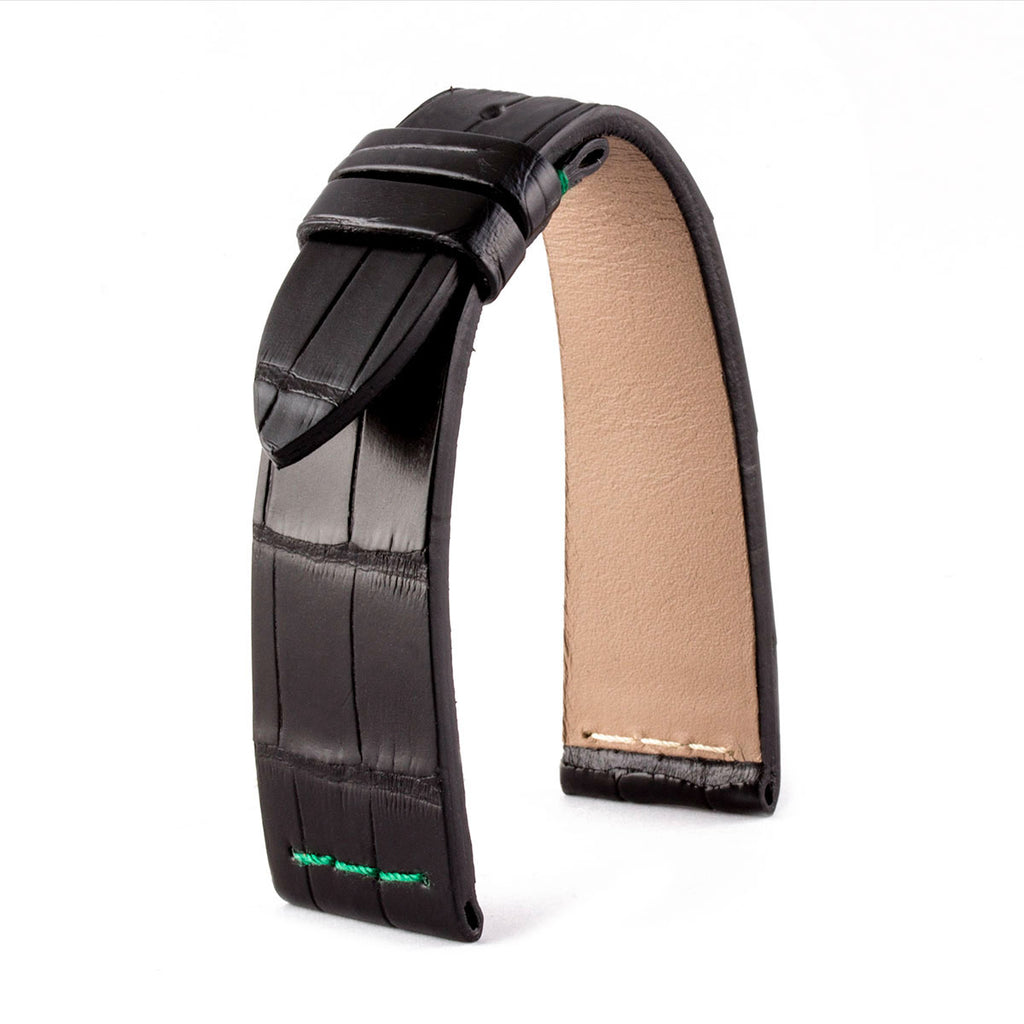 Rolex Kermit - Bracelet montre cuir - Alligator noir / vert - watch band leather strap - ABP Concept -