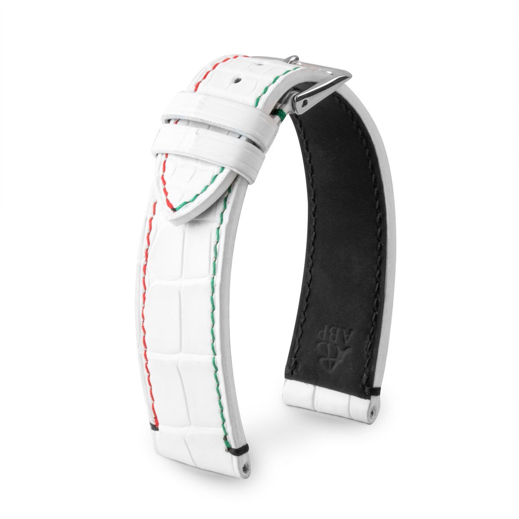Bracelet de montre cuir - U.A.E. Flags - Alligator (noir, blanc) - watch band leather strap - ABP Concept -