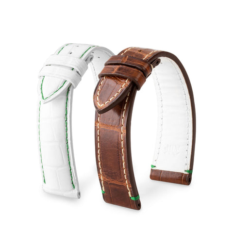 Bracelet pour montre cuir - Golf - Alligator (marron, blanc) - watch band leather strap - ABP Concept -