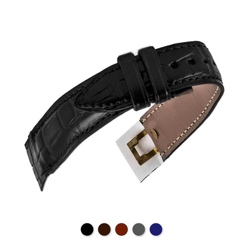 Attaches ouvertes - Bracelet montre cuir - Alligator (noir, marron, gris, bleu)