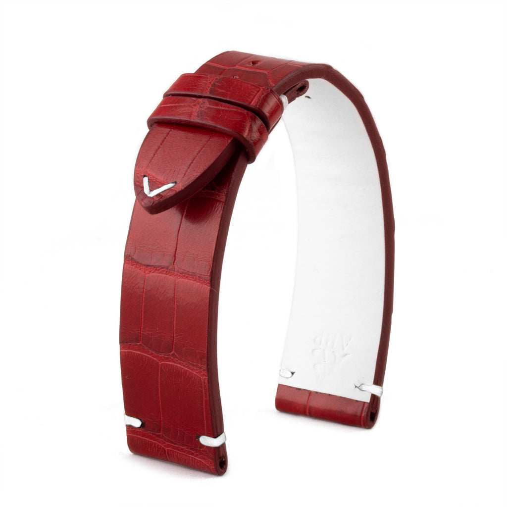 Bracelet montre cuir - Canada - Alligator rouge - watch band leather strap - ABP Concept -