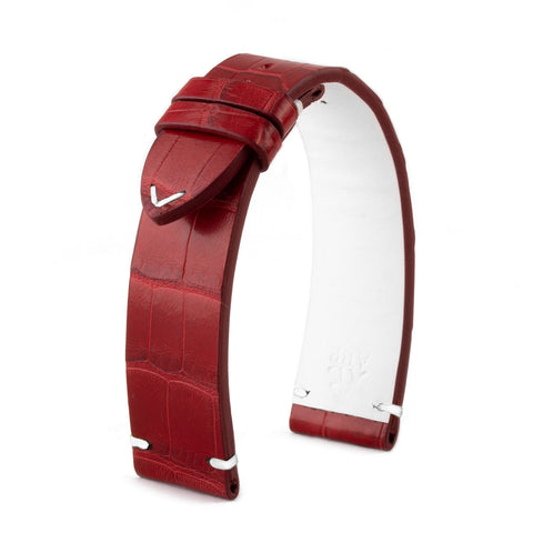 Bracelet montre cuir - Canada - Alligator rouge