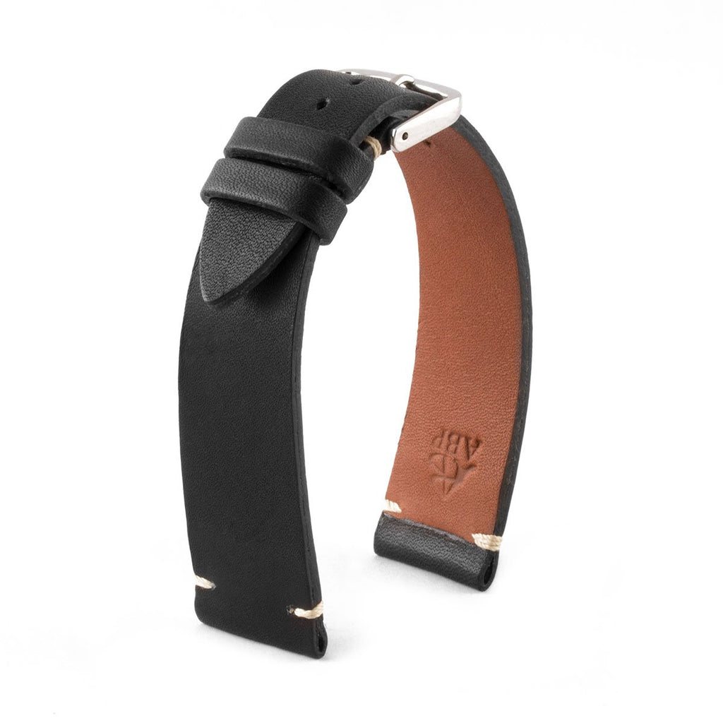 "Bracelet ""Retro"" - Bracelet montre cuir - Veau barenia (noir, marron, kaki, rouge, vert) - watch band leather strap - ABP Concept -"