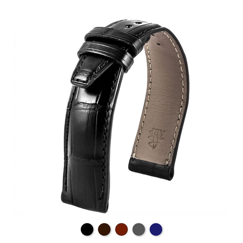 IWC Portofino - Bracelet montre cuir - Alligator (noir, marron, gris, bleu) - watch band leather strap - ABP Concept -