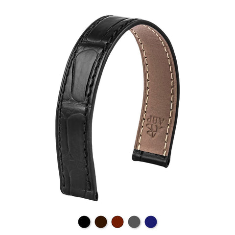 Bracelet-montre cuir - Poiray - Alligator (noir, marron, gris, bleu) - watch band leather strap - ABP Concept -