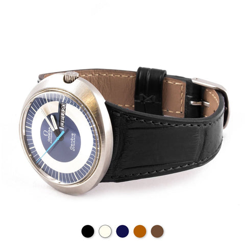 Omega Dynamic - Bracelet-montre cuir (noir, bleu, marron, écru) - watch band leather strap - ABP Concept -