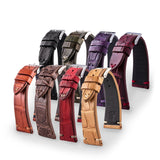 Bracelet Vintage - Bracelet-montre cuir - Alligator (noir, marron, kaki, bordeaux, rouge, violet) - watch band leather strap - ABP Concept -