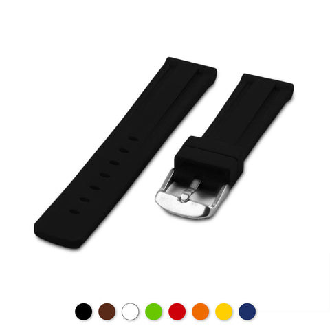 Bracelet montre caoutchouc - Rubber (noir, marron, blanc, vert, rouge, orange, jaune, bleu) - watch band leather strap - ABP Concept -