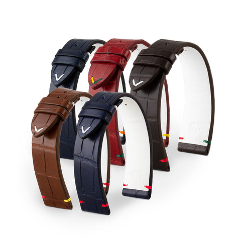 Bracelet-montre cuir - U.S. Flags - Alligator (bleu, marron, rouge)