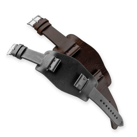 Bracelet bund vintage - Bracelet montre cuir - Veau (noir, marron foncé) - watch band leather strap - ABP Concept -